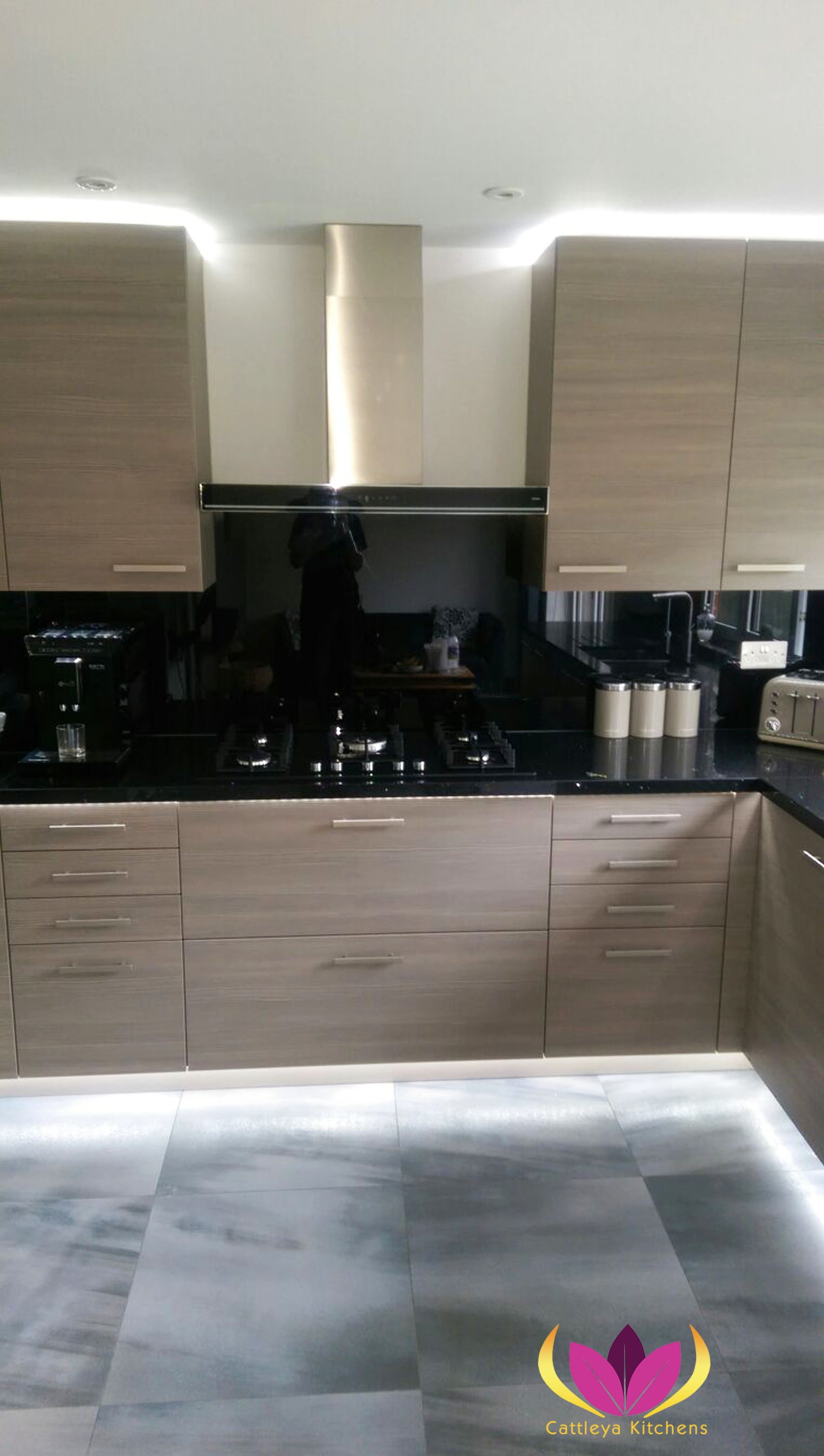Brown & Black worktop Ealing Finished Kitchen Project