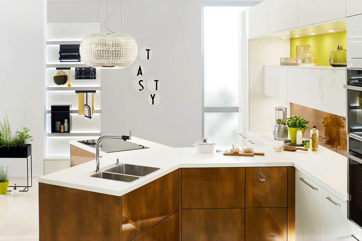 White & Brown Y Kitchen Design