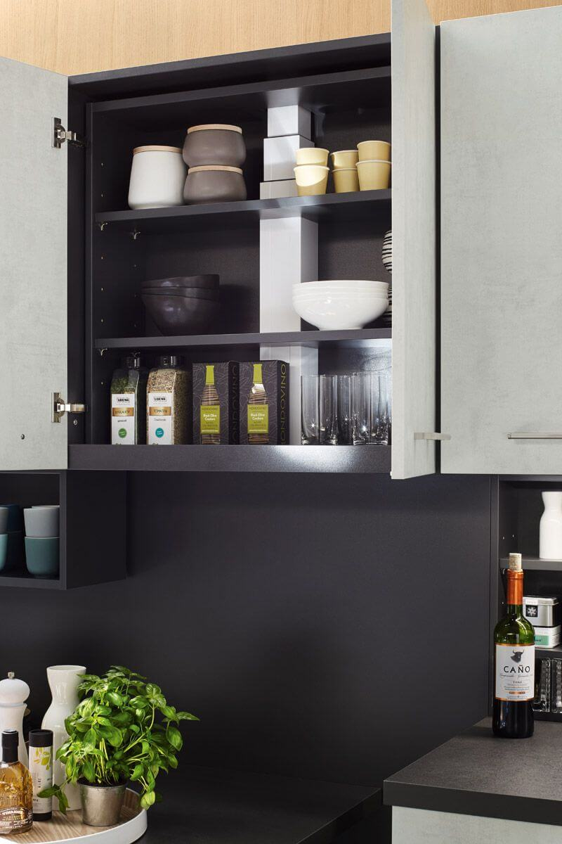 Layered shelving inside cabinet Top 1466 Kitchen Design