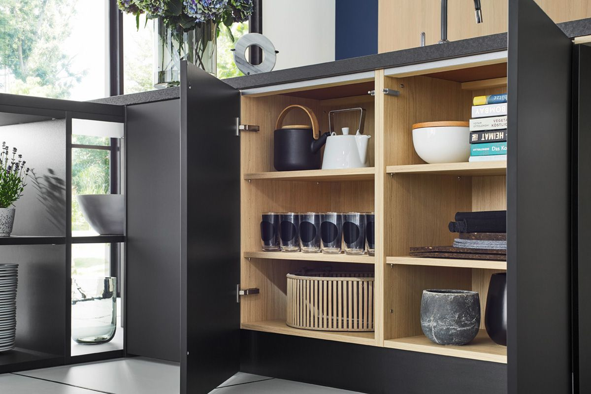 Black cabinet with layered shelving Top 1496 Kitchen Design