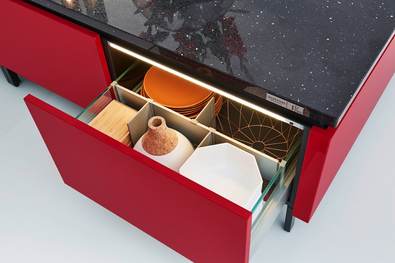 Drawer with glass side panel adjustable separation Edition 2716 Kitchen Design