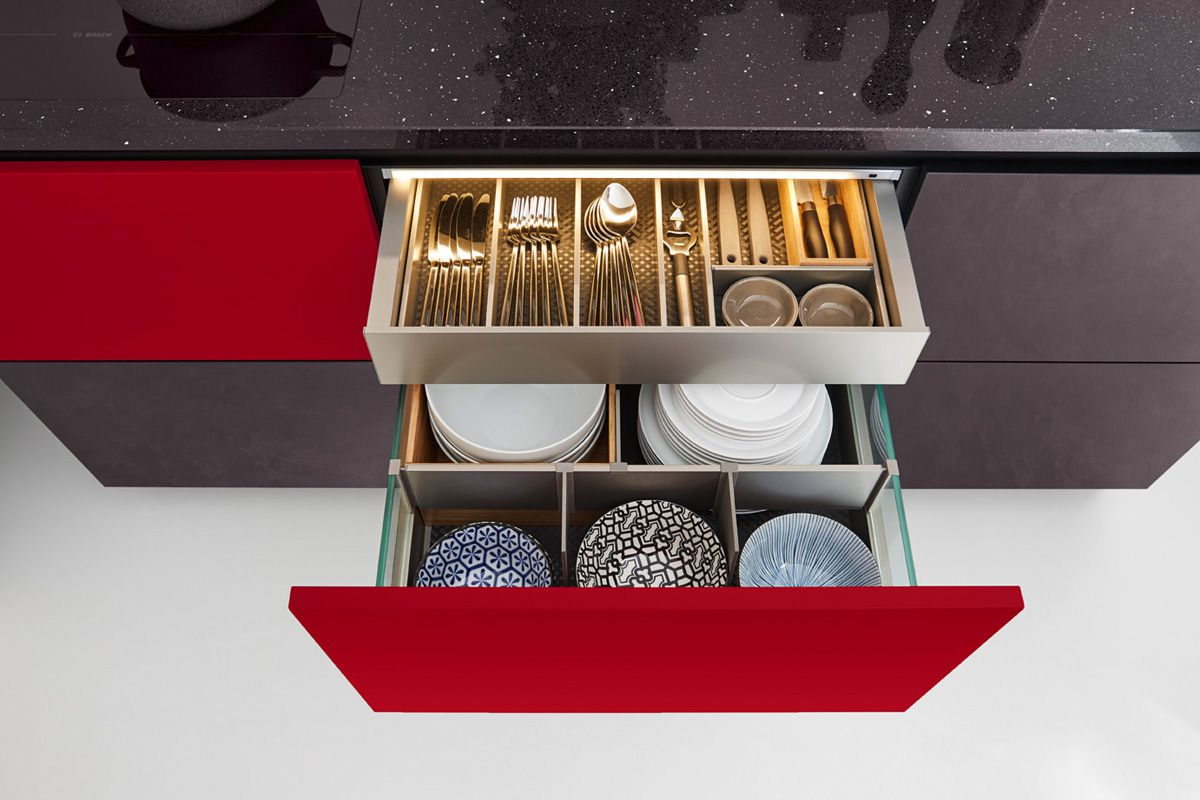 Drawer inside drawer with side glass panel - Edition 2716 Kitchen Design