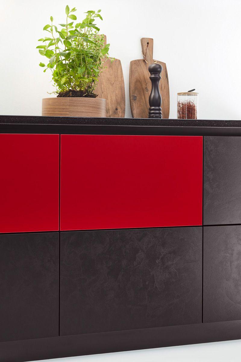 Red & Black Supermatt Kitchen Drawers Edition 2716 Kitchen Design