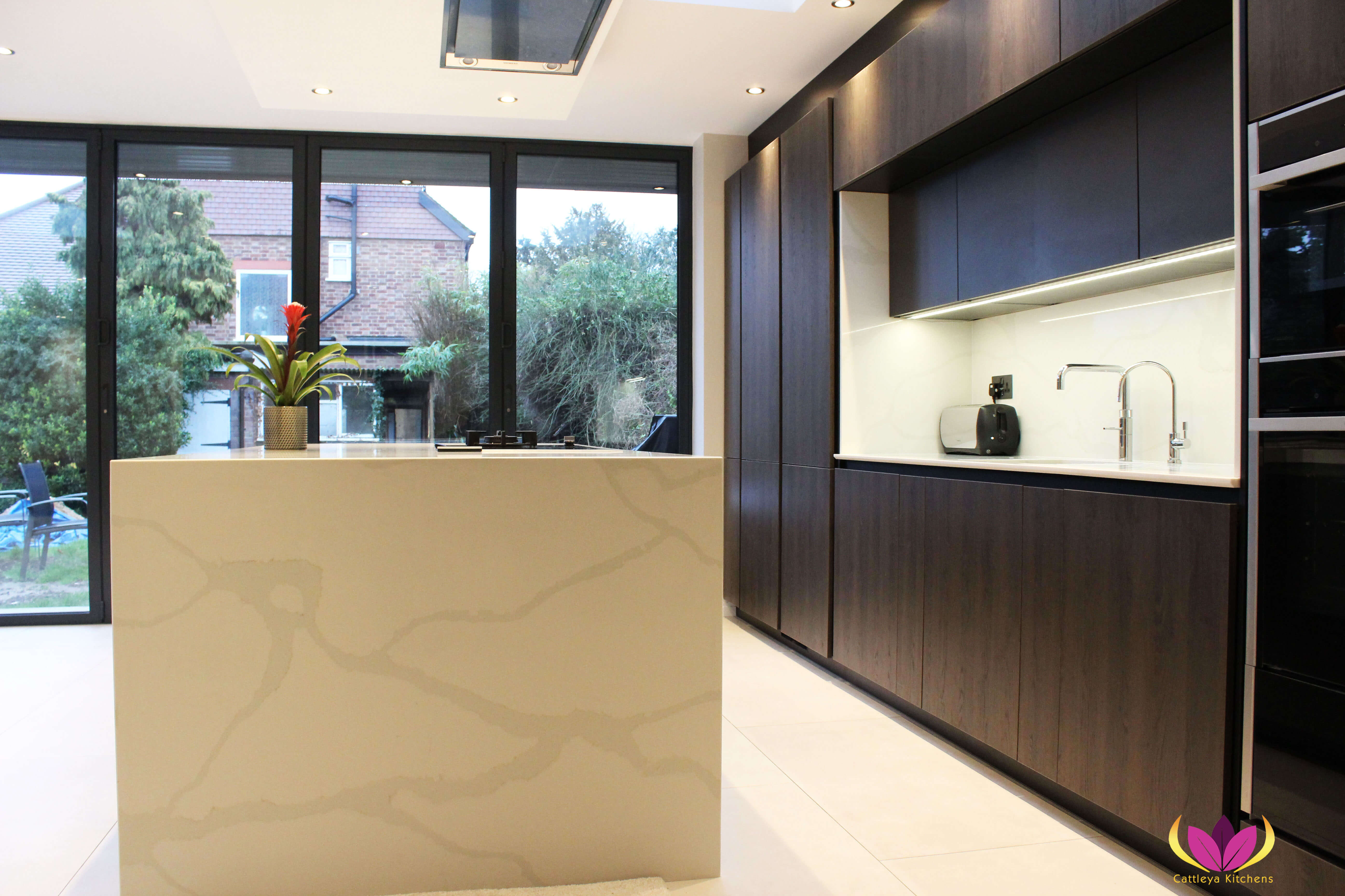 Wood Effect & White Marble Twickenham Finished Kitchen Project
