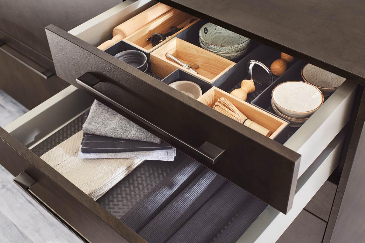 Inside the brown drawers Premium 3001 Kitchen Design