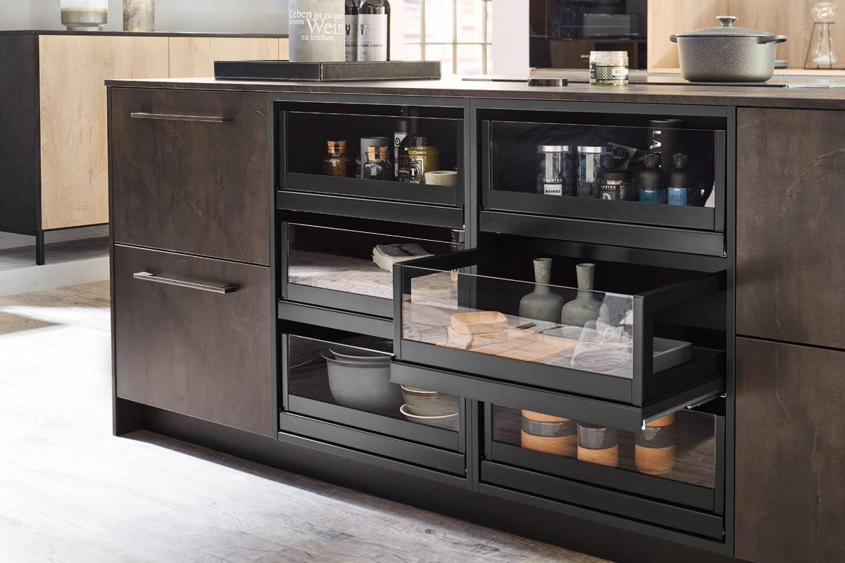 Black Metal TakeAway Pullout Premium 3001 Kitchen Design