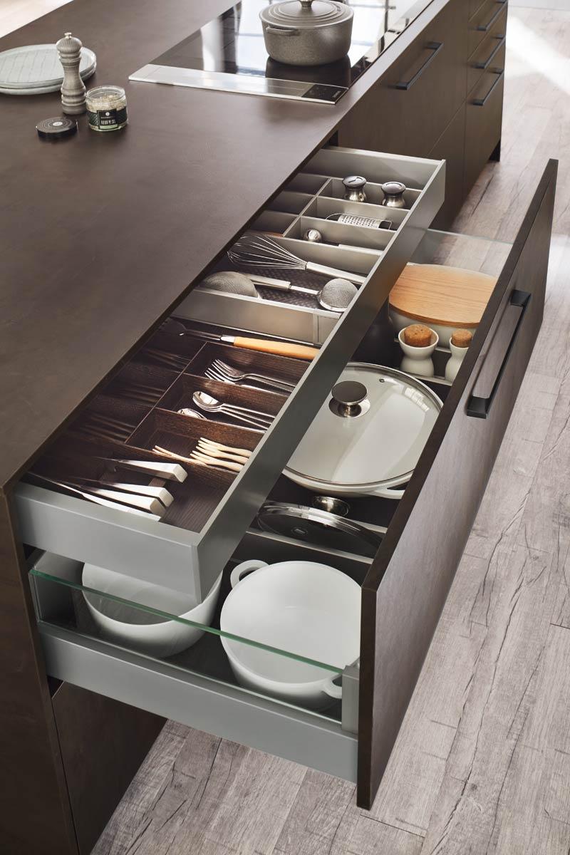 Wood Drawers with internal drawers Premium 3001 Kitchen Design