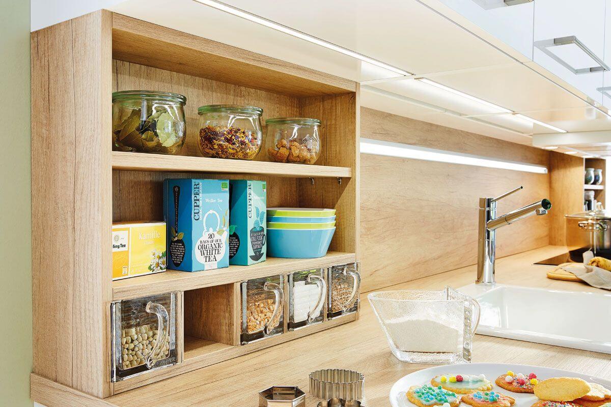 Wood effect layered shelving Miami 3146 Kitchen Design