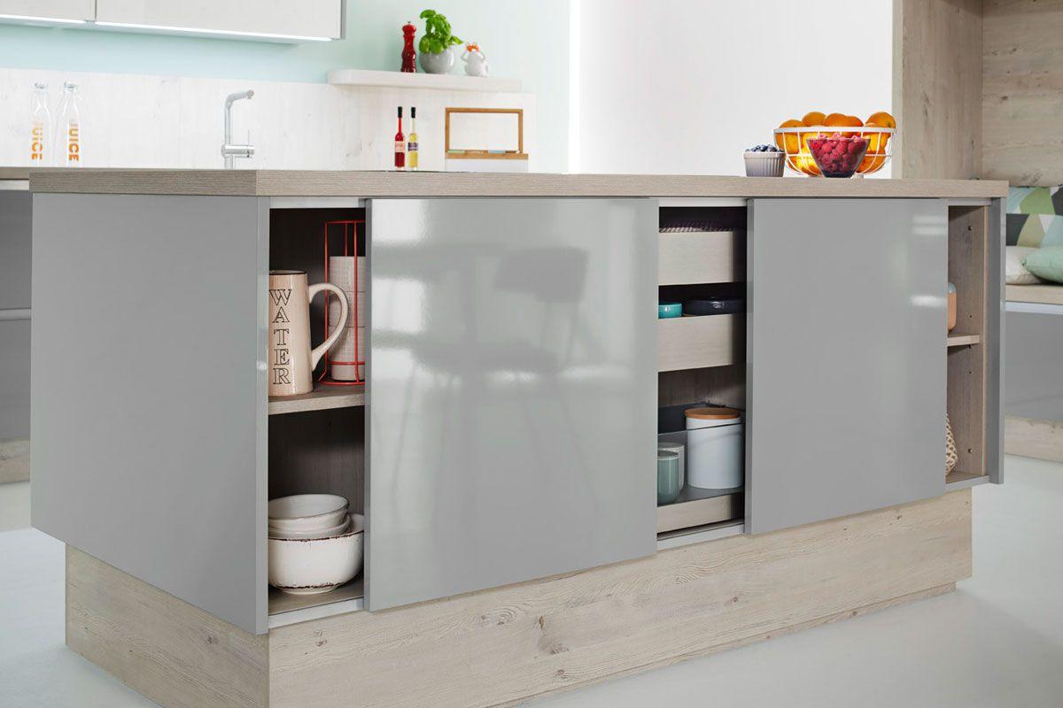 Powder blue sliding door Resopal 3431 Kitchen Design