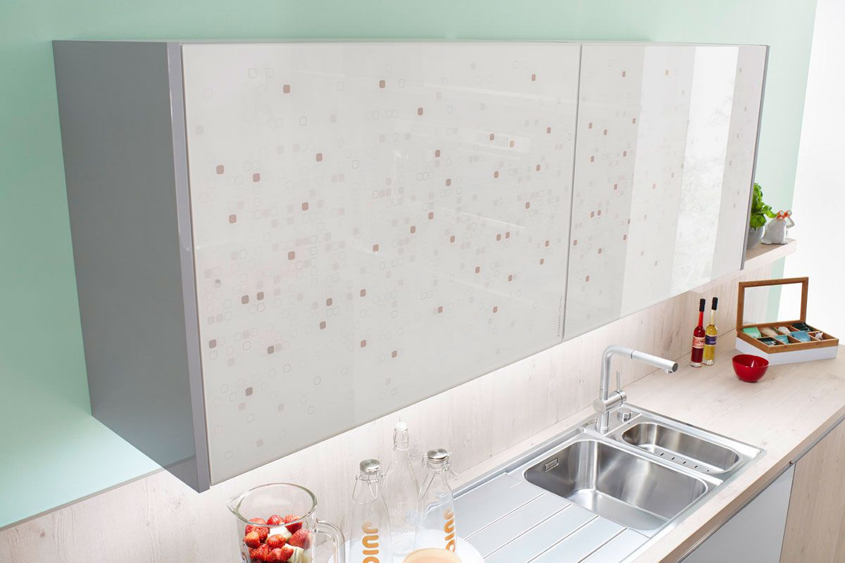 Smooth Gloss White Wall Hung Cabinet Resopal 3431 Kitchen Design