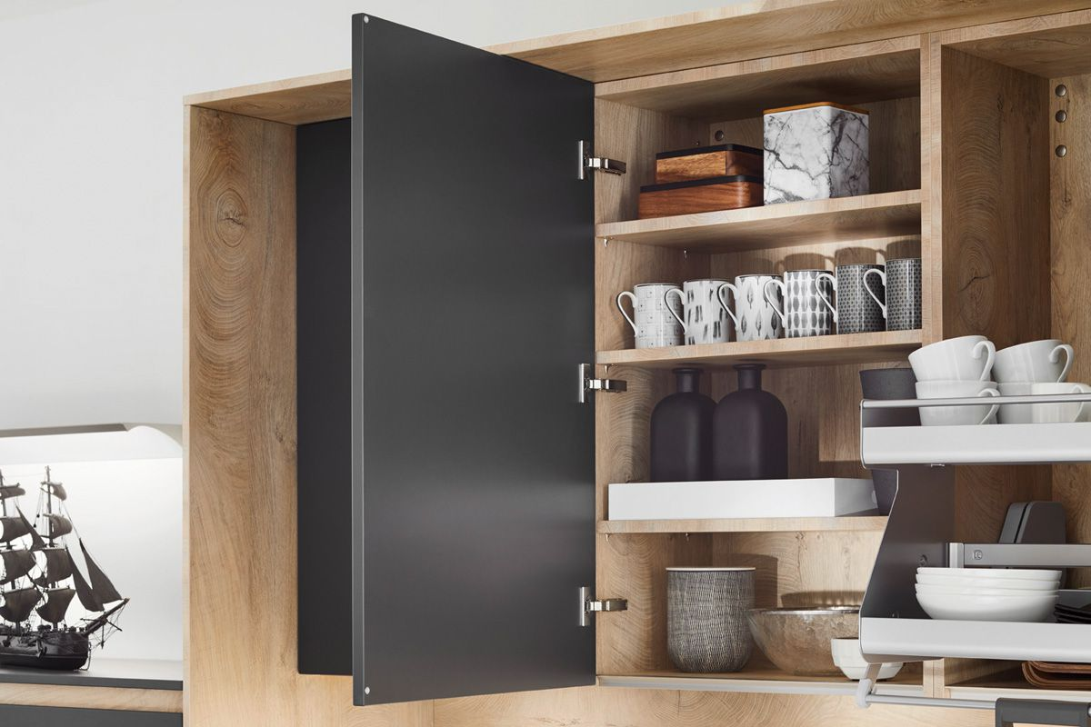 Gray cabinet with layered shelving Flair S 40095 Kitchen Design