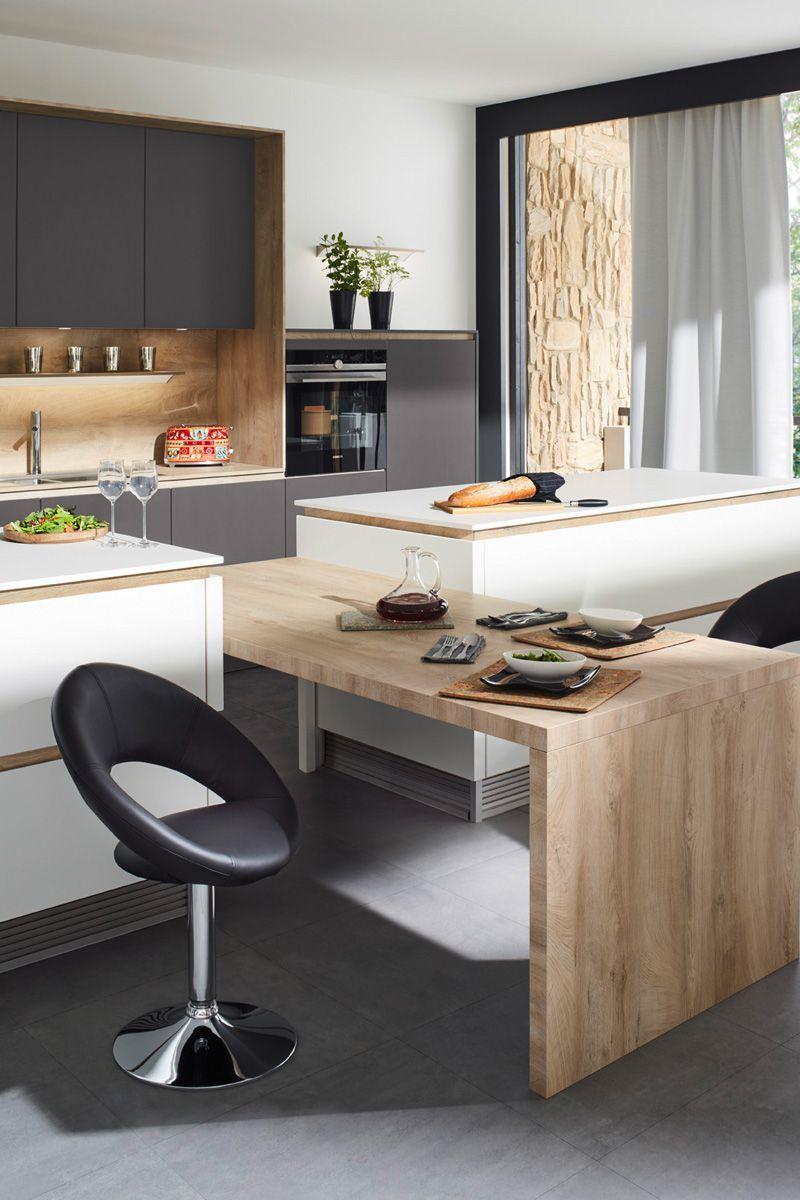 Gray & wood effect Flair S 40095 Kitchen Design