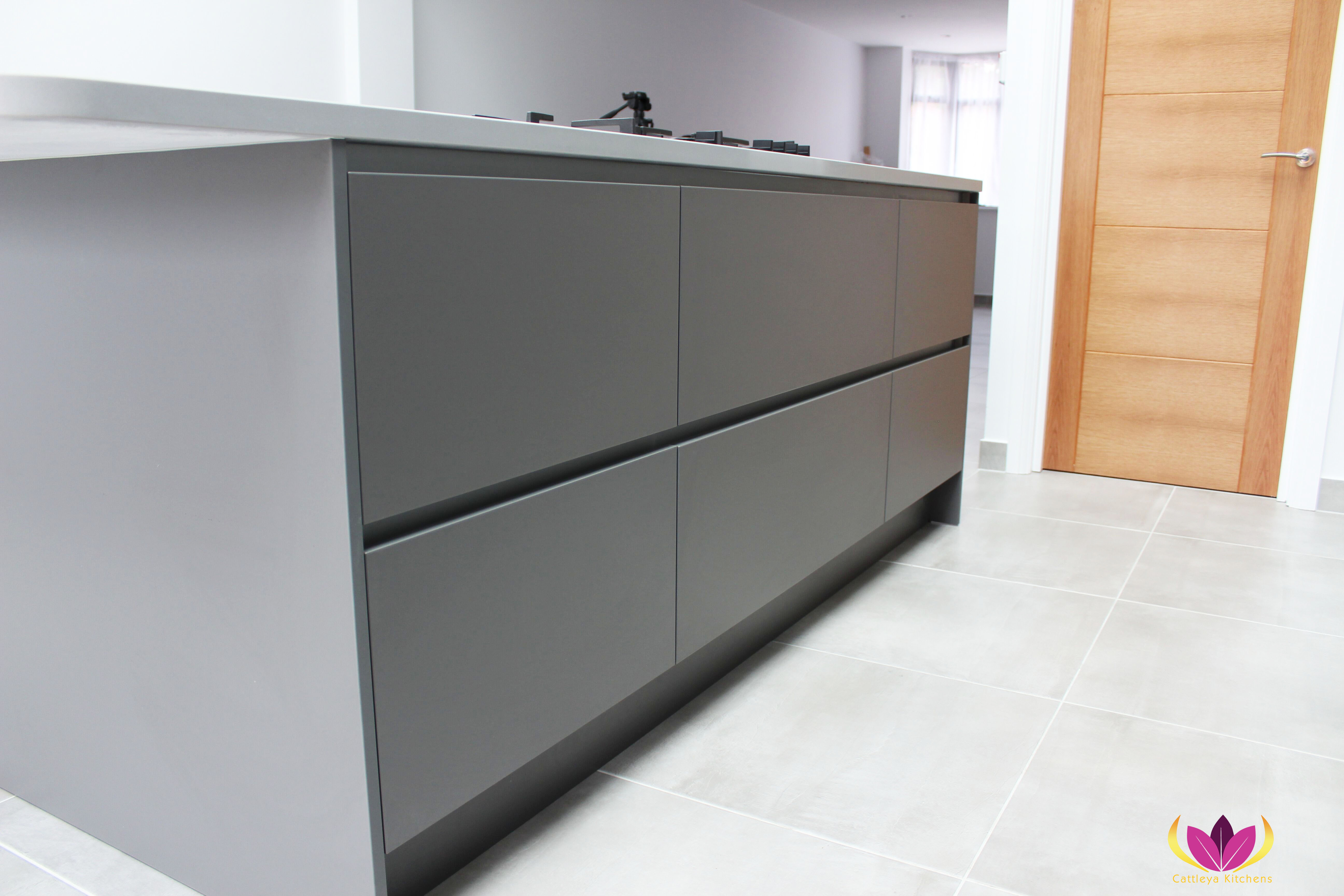 Gray kitchen island Edgware Finished Kitchen Project