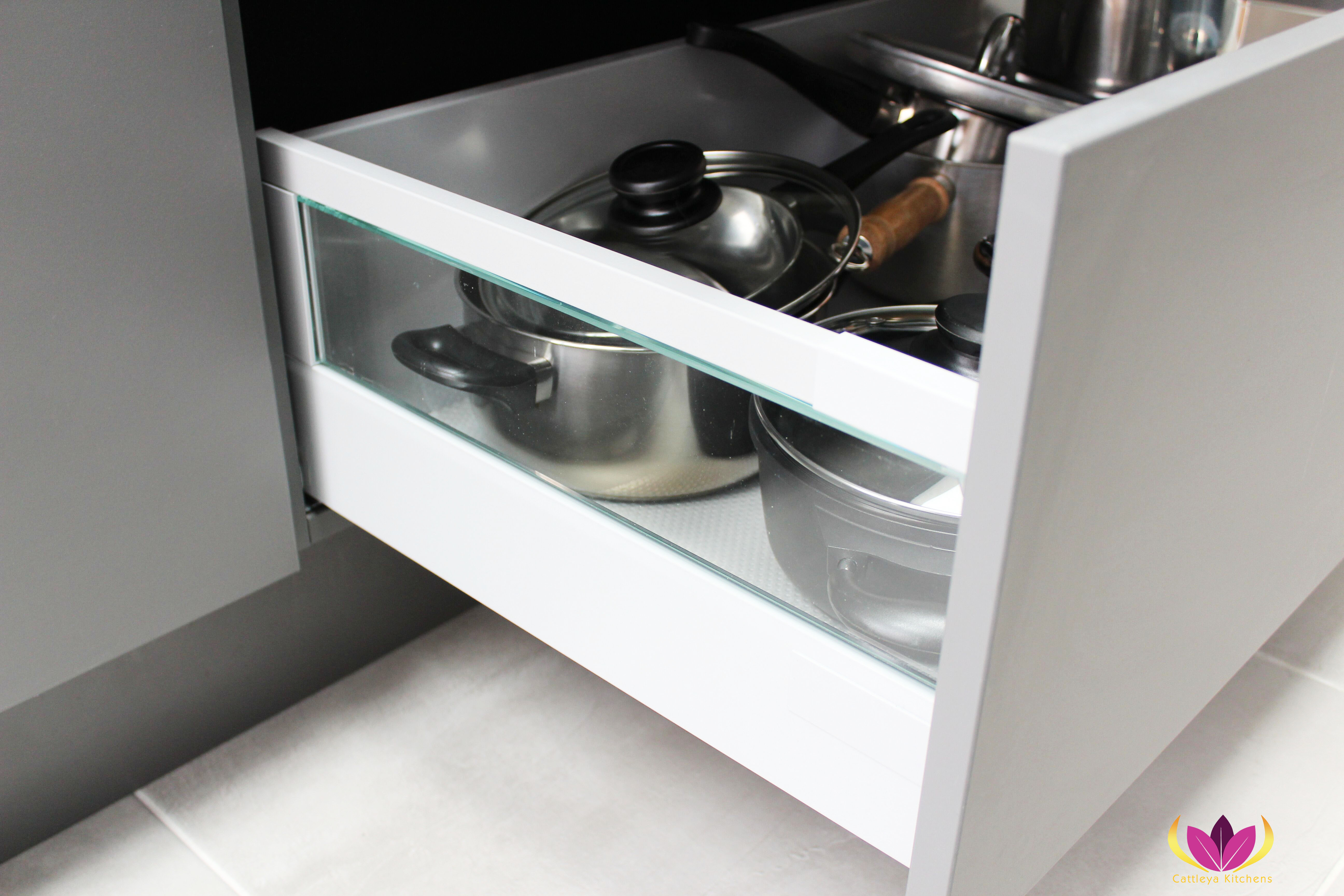 Drawers with glass side panel with non slip mat Edgware Finished Kitchen Project