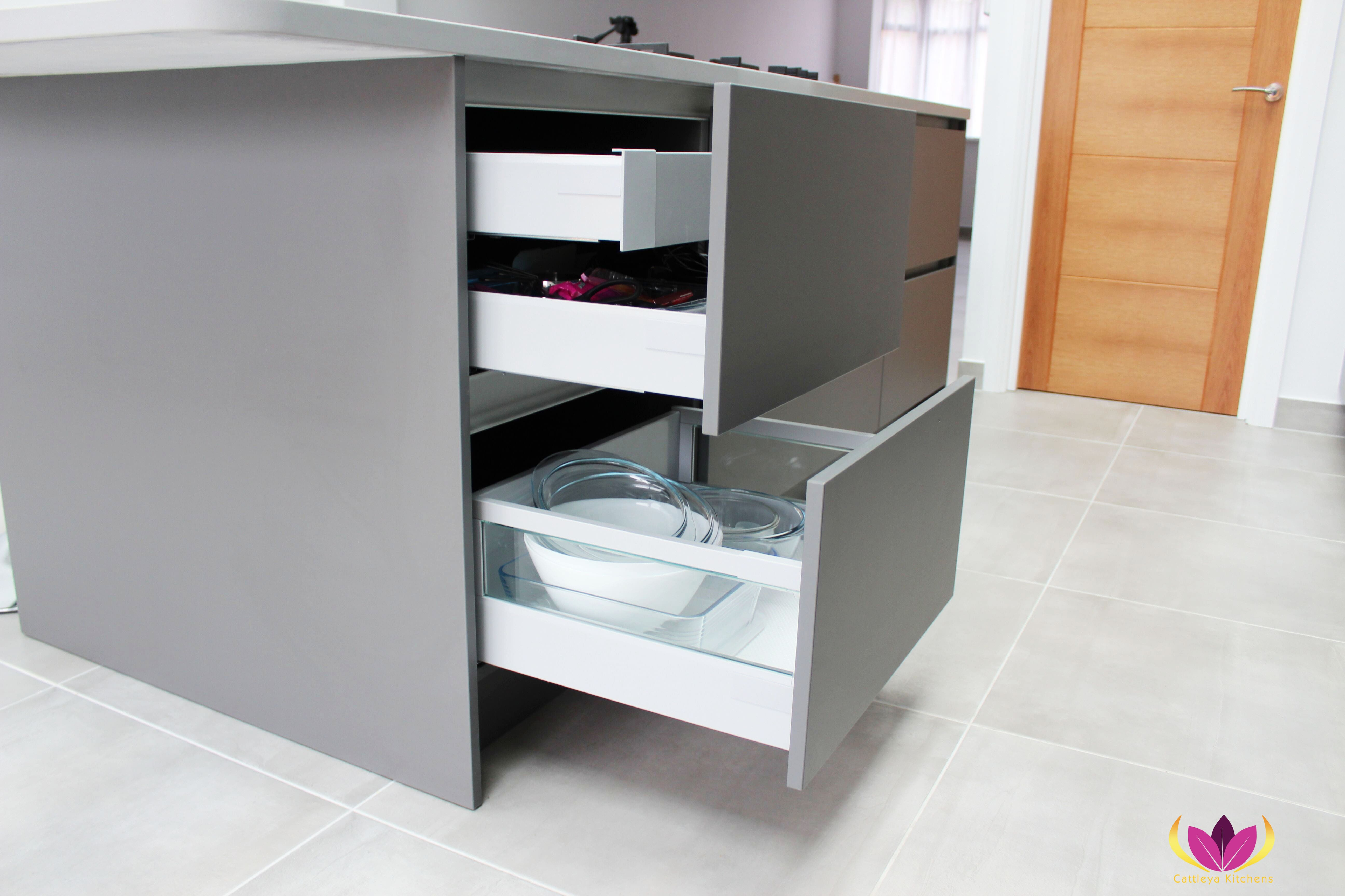 Gray drawers with internal drawers Edgware Finished Kitchen Project