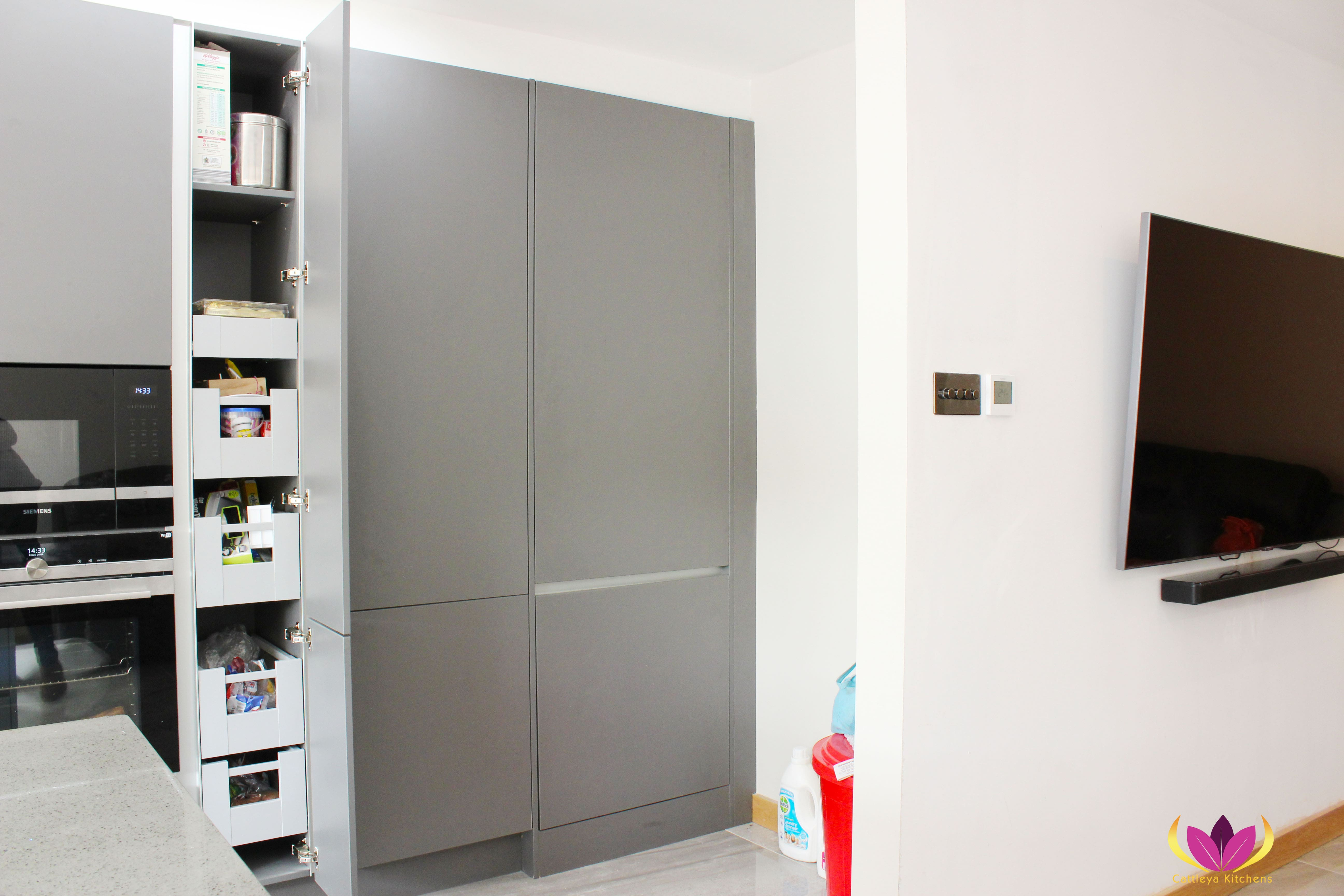 Gray Tall Cabinet with pullout boxes Perivale Finished Kitchen Project