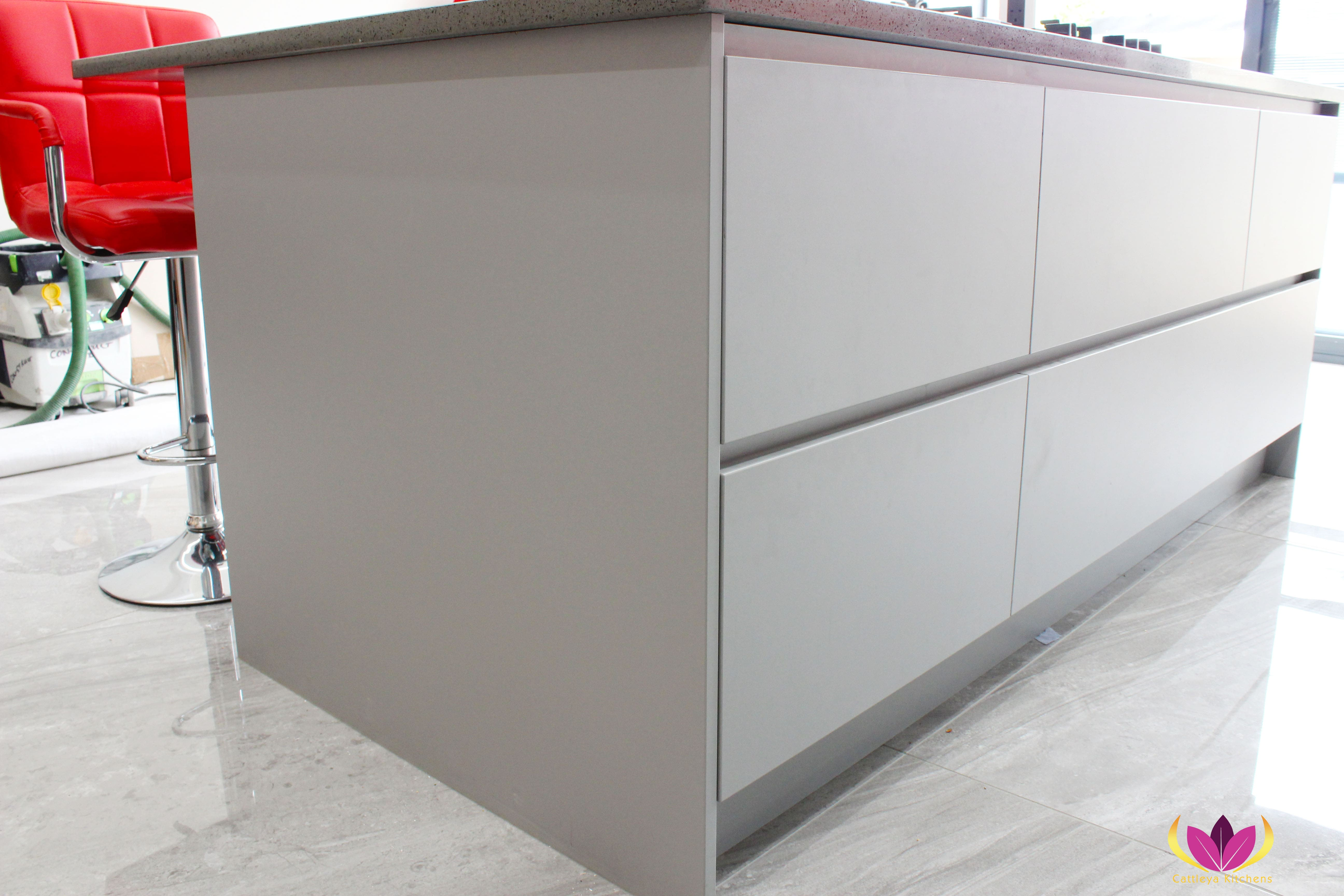 Gray & Gloss Red Perivale Finished Kitchen Project