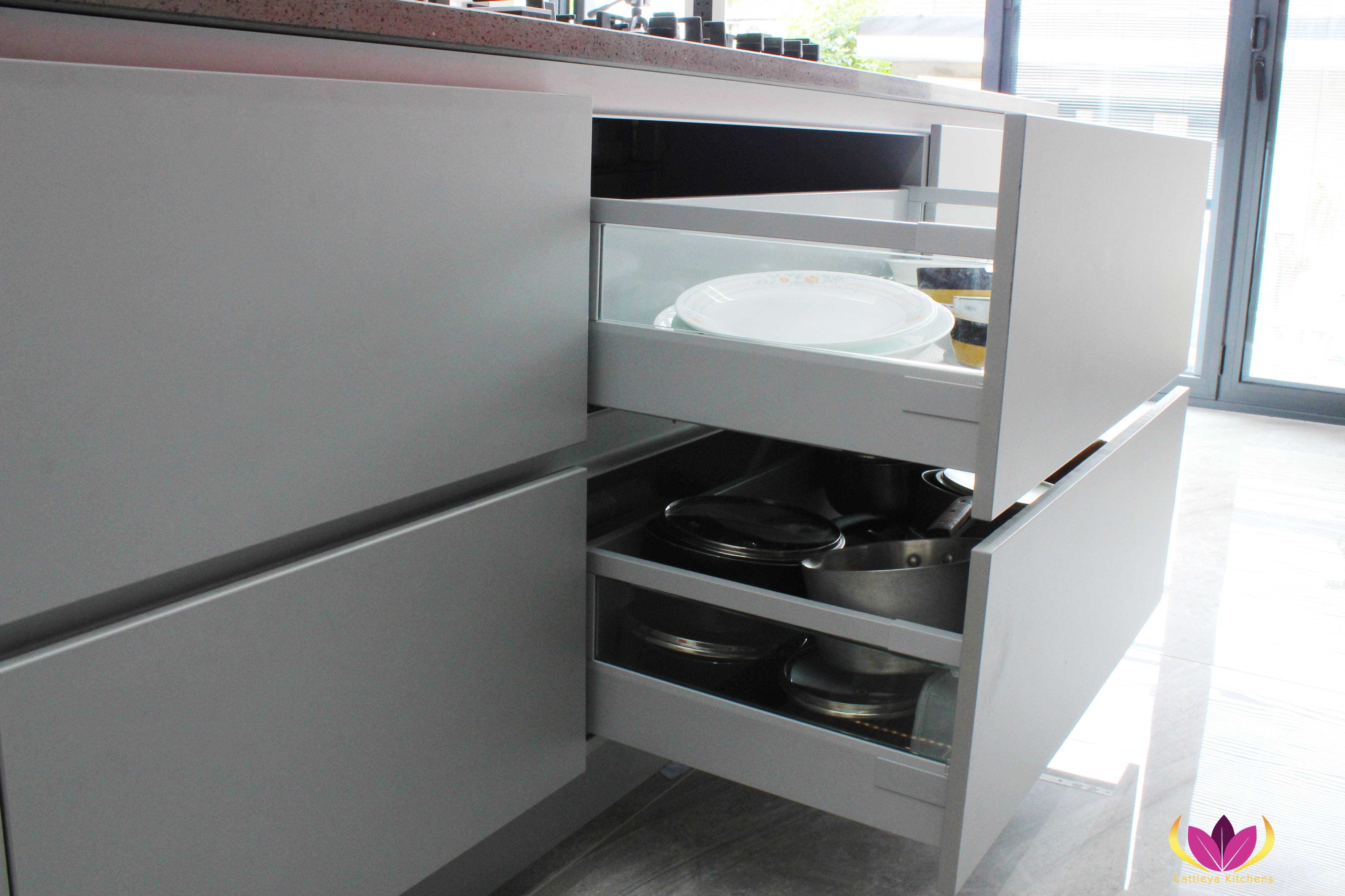 Drawers with glass side panel Gray & Gloss Red Perivale Finished Kitchen Project