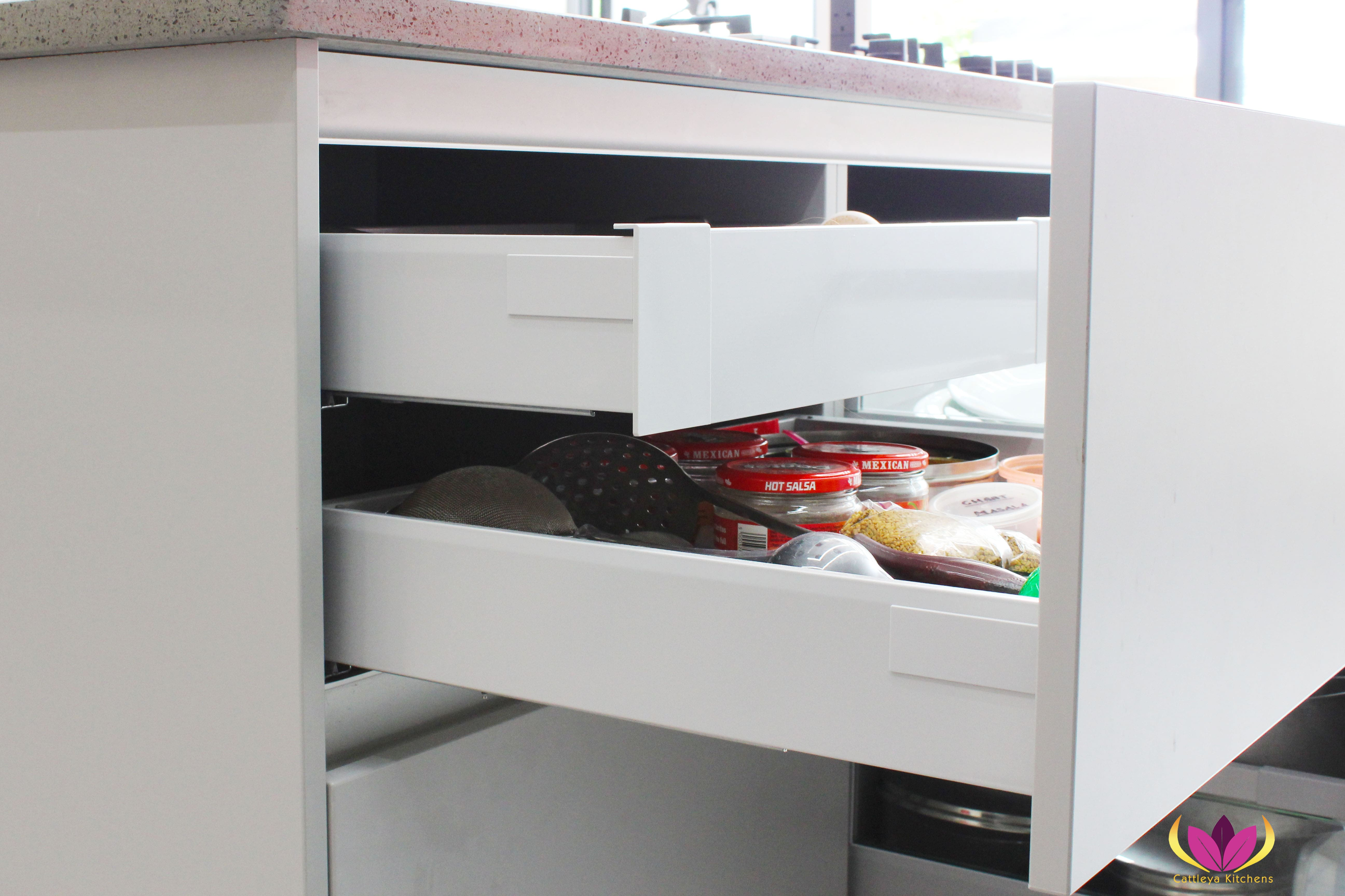 Gray drawers inside drawers Perivale Finished Kitchen Project