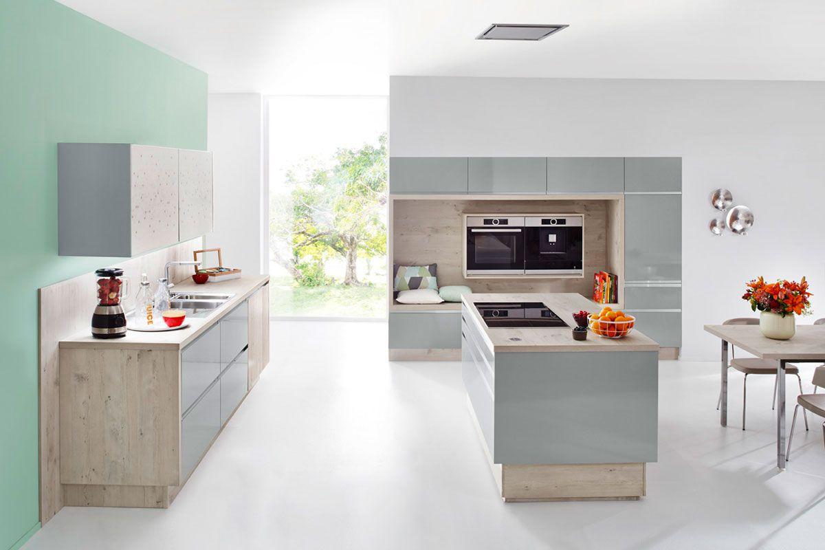 Powder Blue & Wood Effect Resopal 3431 Kitchen Design