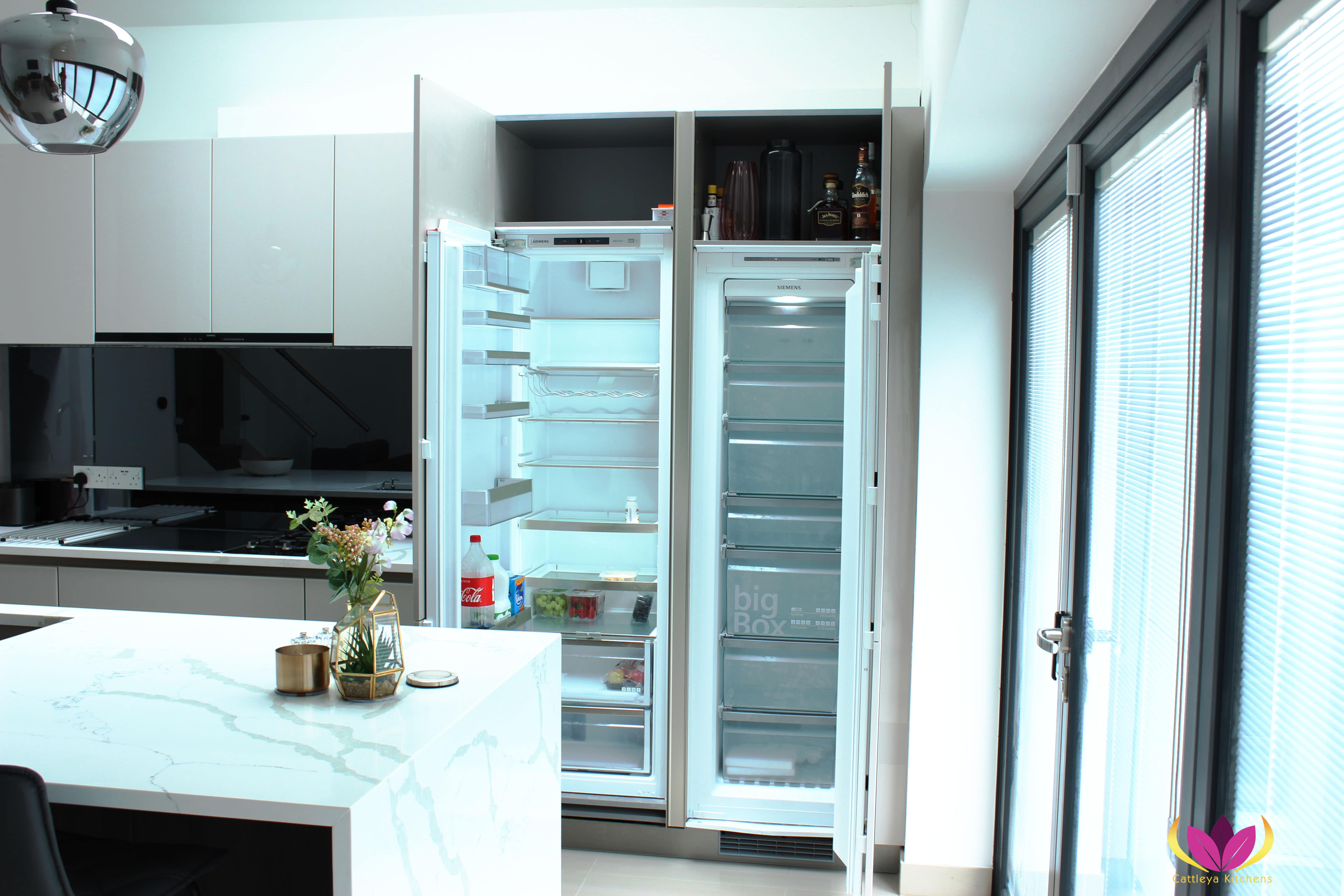 Hidden fridge in tall cabinet units - Greenford Finished Kitchen Project