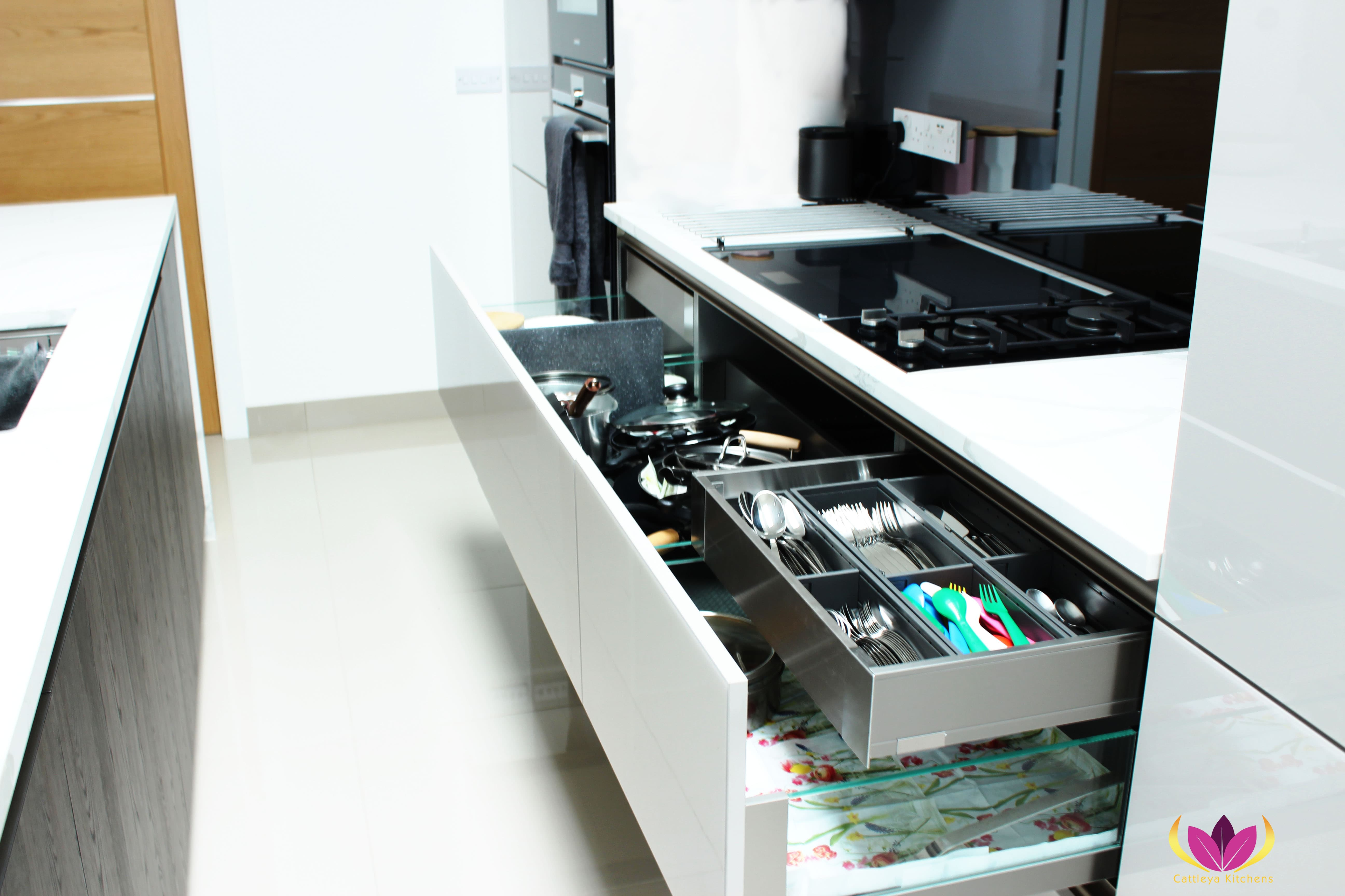 Drawers inside drawers integrated with separation system - Greenford Finished Kitchen Project