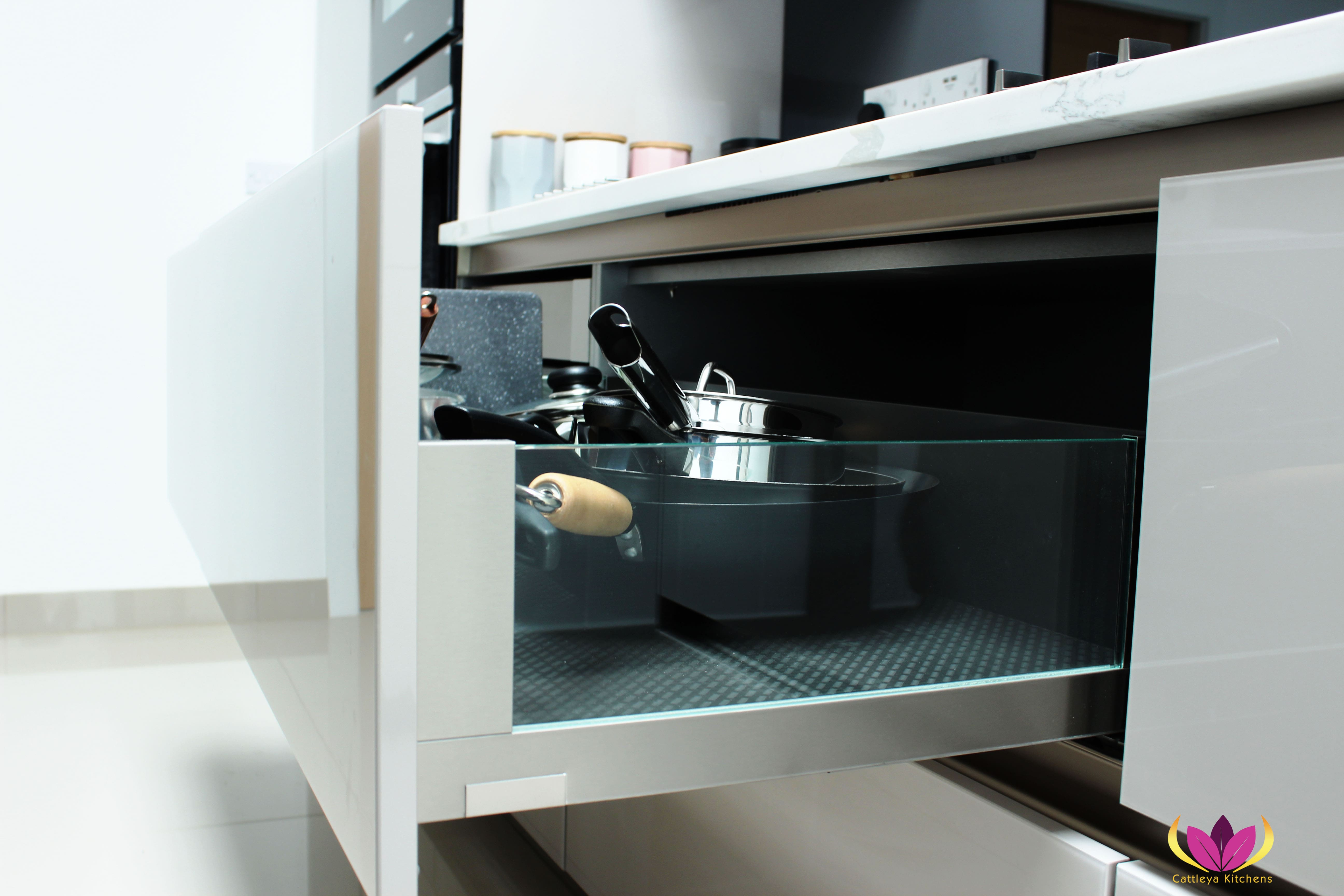 Closer look inside handlesless drawers - Greenford Finished Kitchen Project
