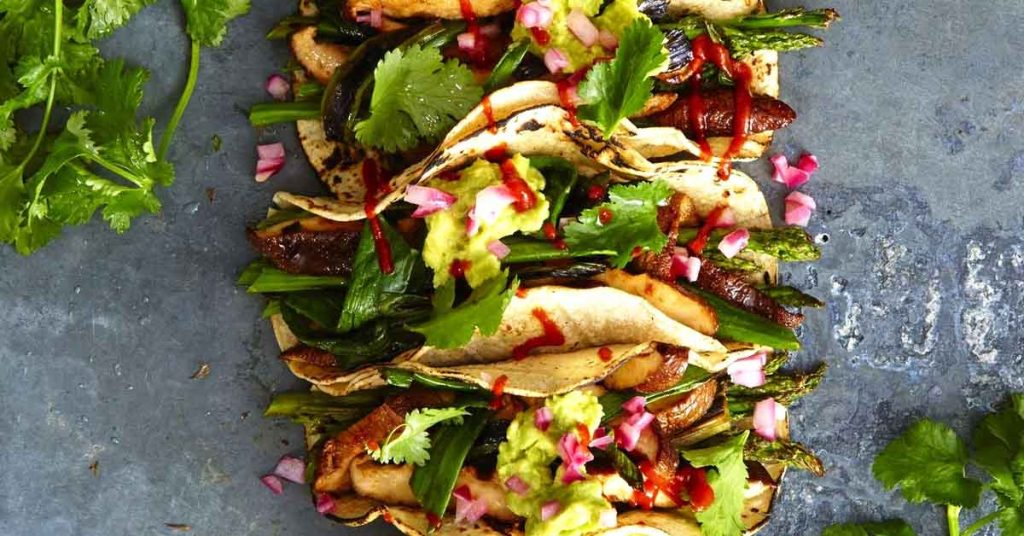 Grilled Asparagus and Shiitake Tacos
