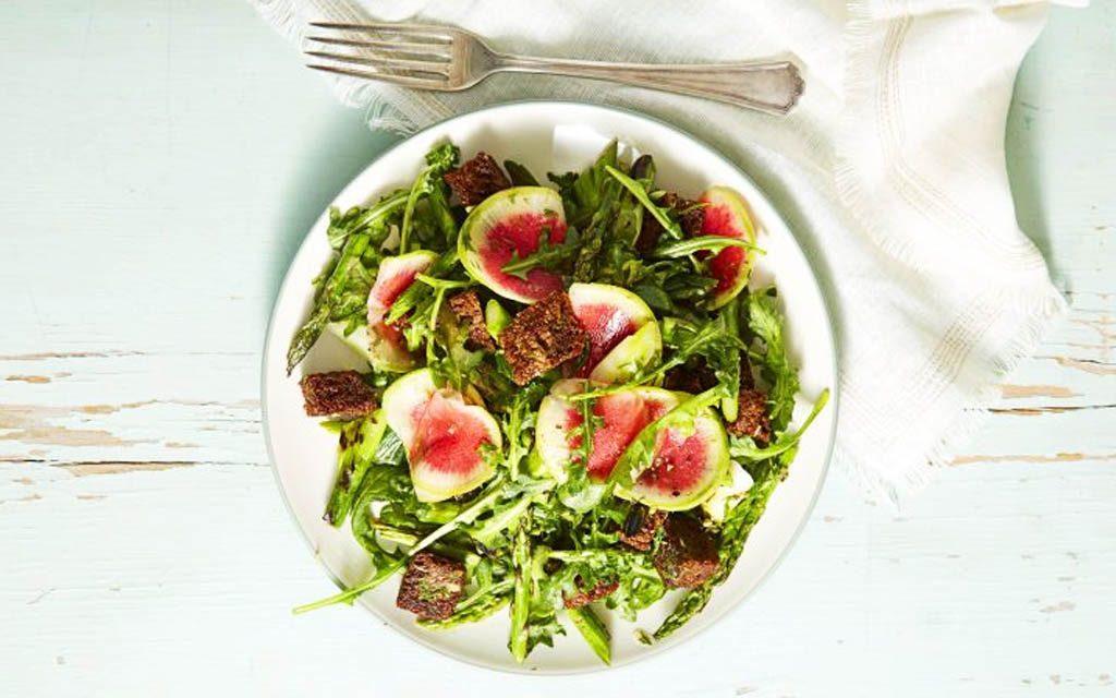 Garden Greens and Pumpernickel Panzanella Salad