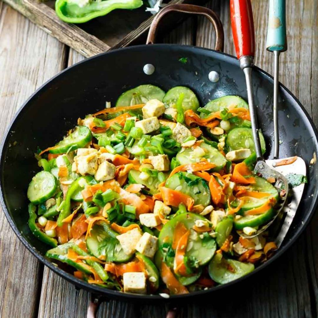 Spicy Cucumber Salad with Pan-Fried Tofu
