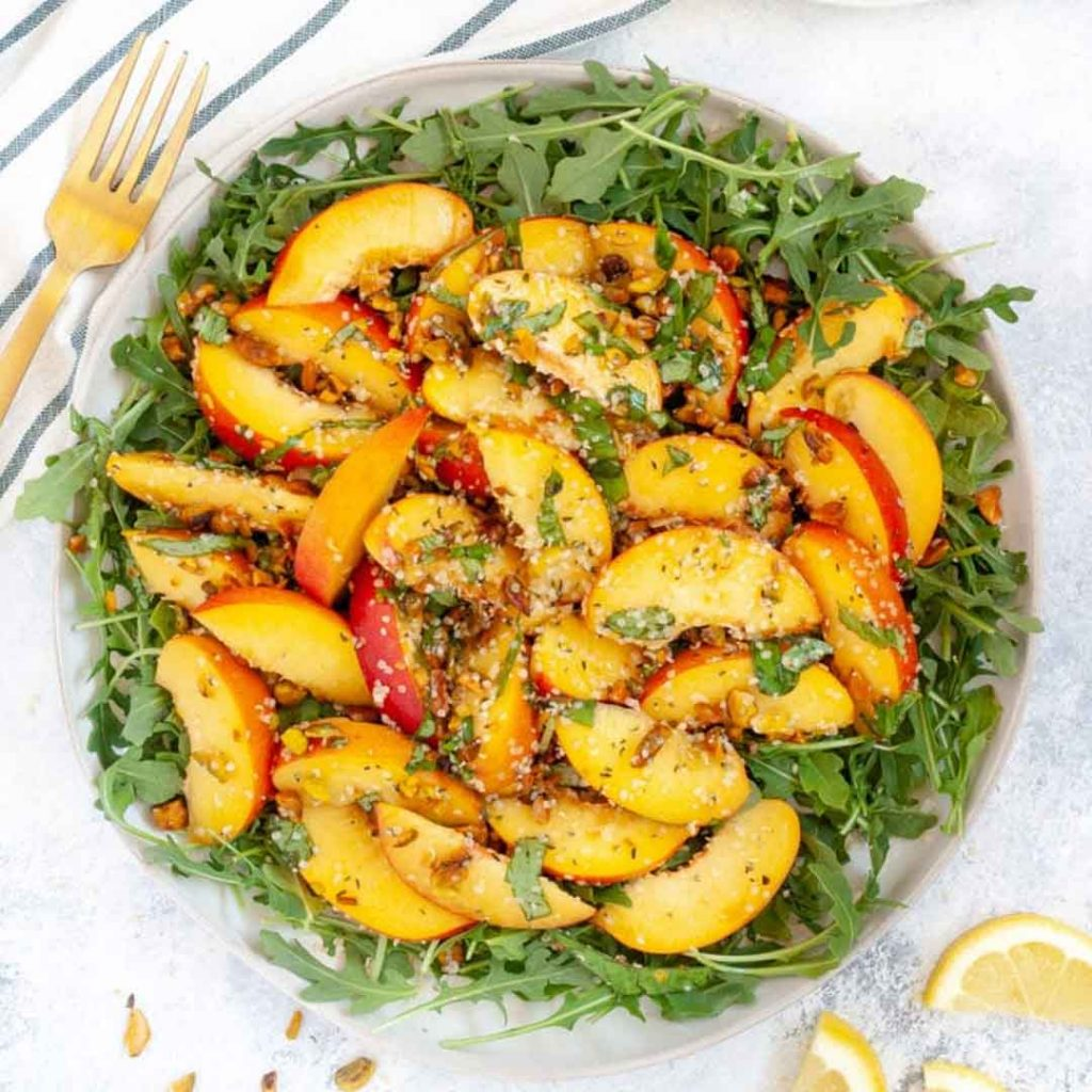 Summer Peach Salad with Pistachios