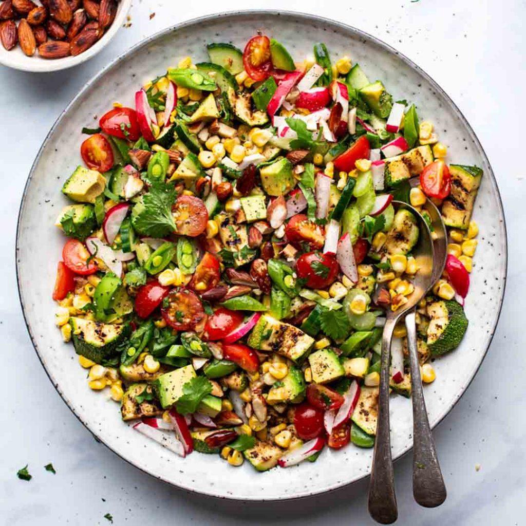 Corn Zucchini Almond Salad Recipe (Vegan Summer Salad)